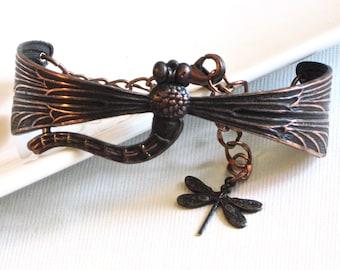 Black Dragonfly Bracelet, Dragonfly Cuff, Dragonfly Jewelry, Nature Jewelry