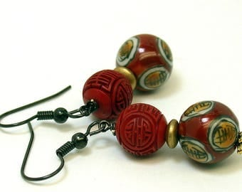 Vintage Chinese Cinnabar RED Bead Dangle Drop Earrings , Vintage Chinese Porcelain , Vintage German Gold Glass Beads - GIFT WRAPPED