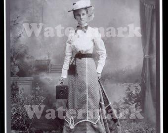 1900s Woman with Box Camera Studio Professional Photographer Black White Portrait