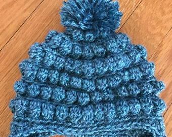 Turquoise crochet Toddler Hat- Pom pom and Bauble stitch