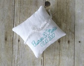 Personalized Names and Date Embroidered Petite Linen Ring Bearer Pillow - Choose Your Colors, 5 x 5 inches