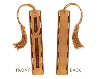 5th Anniversary Engraved Bookmark with Tassel - Made in the USA