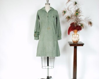 Vintage 1920s Dress - Rare 20s Girl Scouts Uniform of Green Cotton Twill with Many Merit Badges