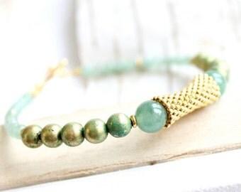 ON SALE SALE - Light Green Gold Beadwork Bracelet Verdigris Patina Gold Beadwoven Stone Aventurine Beaded Handmade Boho Jewellery