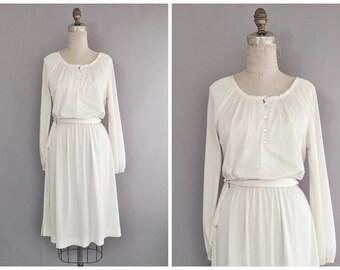 Ivory 70s dress • vintage 70s dress