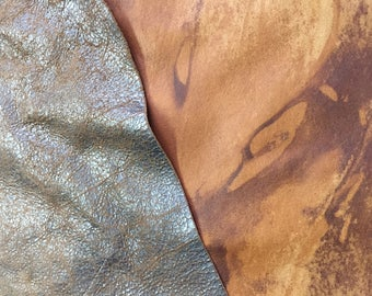 Marbled two sided unique labmskin soft leather one side cognac the other crackled brown shinny - total of 4 plus sft
