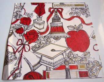 Vintage 1970's Graduation Wrapping Paper | Red and White Gift Wrap | Books Apple Graduation Hat Gift Wrapping Paper