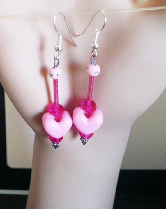 handmade bead drop earrings pink heart earrings long drop pink earrings dangles glass plastic beaded heart original jewelry Elizavella