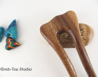 Hair Fork,Albizia Wood,Hairfork Mermaids Tail,Grahtoe Hair Stick, Wood Hair Sticks,Gift for her,Hairforks,Man Bun,Hair Toy,Hair Forks,