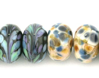 Mixed Pairs  Donut Handmade Glass Lampwork Beads (8 Count) by Pink Beach Studios (2621)