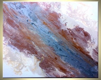 """Metallic Silver Bronze Gold Cream and White Painting, 20"""" Original Palette Knife Drip Art, Textured Abstract Painting by Lafferty - 16X20"""""""