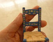 12th scale hand-made hand-painted  pair of blue chairs in  the  folk art Portuguese typical style, reserved list for Sandra