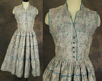 vintage 50s Dress - 1950s Gingham and Floral Day Dress Square Dance Dress Sz S