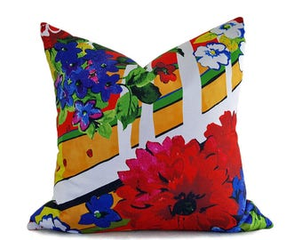 Colorful Floral Pillow Covers, Floral Throw Pillow, Bold Floral Cushion Covers, Spring Cushion Covers, Bright Red Blue Yellow,  20x20 NEW