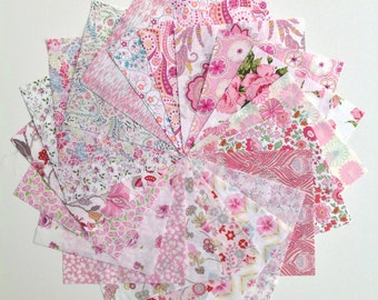 Liberty lawn PINK charm pack - 20 Liberty of London Tana Lawn  Fabric 5 inch squares
