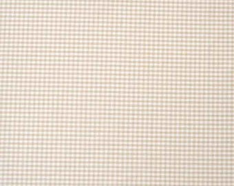 Beige Gingham Fabric, Beige and White Checked Cotton Fabric, 3 mm check  cotton fabric for patchwork and crafts