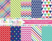 70% OFF SALE Instant Download Digital Papers Triangle Plaid Chevron Striped and Polka Dot Printable Patterns Red Green Blue Pink