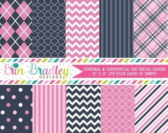 50% OFF SALE Digital Papers Personal and Commercial Use Pink and Blue Patterned Backgrounds Instant Download