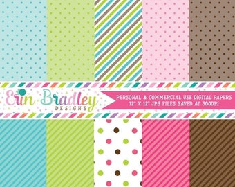 50% OFF SALE Digital Scrapbook Papers Personal and Commercial Use Pink Green Blue Brown Stripes and Polka Dots