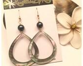 14k Gold Filled Mother of Pearl Teardrop and Dark Tahitian Green Shell Pearl Earrings (Medium)