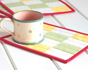 Fabric Mug Rugs, Quilted Mug Rug, Set of 4 Mat, Patchwork Mini Quilt, Yellow Green Red White Mug Rug Quilting, Snack Mat, Quiltsy Handmade