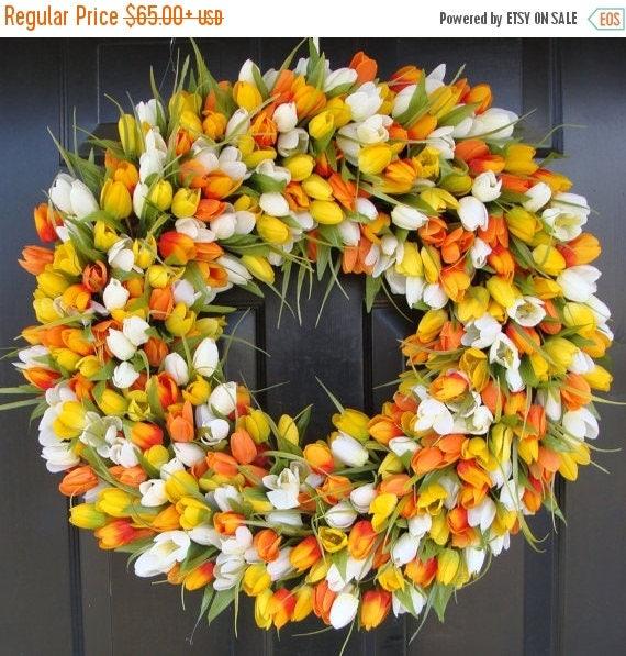 SPRING WREATH SALE Sunny Tulip Spring Wreath- Tulip Wreath Year Round Wreath- Door Wreath- Wreath- Easter Wreath