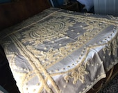 2 RARE satin chenille bedspread urllow twin full everwear