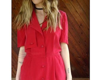 Red Silk Secretary Mini Shirt Dress - Vintage 90s - S/M Petite