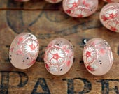 Japanese Acrylic Frosted Flower Beads Oval Beads Matte Acrylic Beads 16x12mm Bead Blush Rose (6)