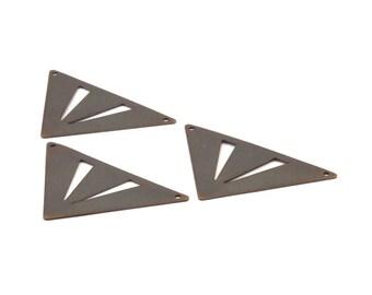Antique Bronze Triangle, 50 Antique Bronze Triangle Brass Pendants With 2 Holes (45x35x35mm) Pen 3091v K108