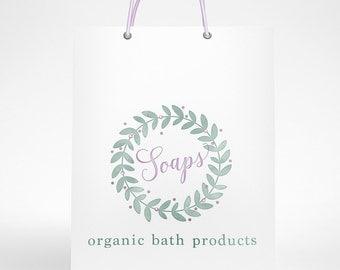 Soap Logo, Spa Logo Design, Organic Soap Logo, Watercolor Soap Logo, Organic Bath Products Logo, Beauty Logo, Soapmaking Logo, Organic Bath