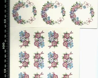 Decal for Ceramic, vintage, pink and purple, floral - BULK LOT