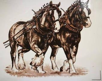 Decals for Ceramic, Horses, Clydesdales, Workhorses, Vintage, Retro, Animals, Farm Animals- BULK LOT