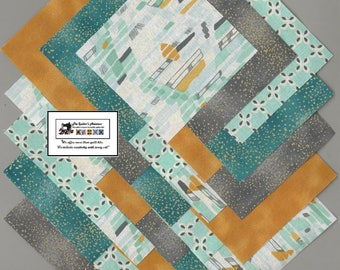 "40~4"" Teal & Gray Geometric Fabric Squares/Quilt/Craft/Sewing/Charm Packs #0888"