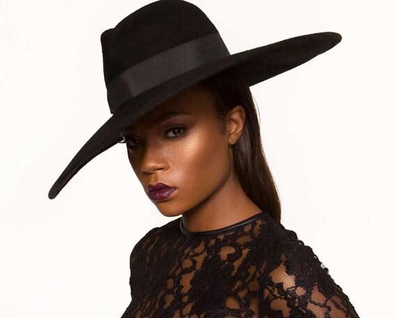 Wide Brimmed Black Fedora Hat Women's Hat Fall Fashion 6 Inch Brim Fedora Hat Cashmere Fedora Hat Black Hat Fall Accessories Dressy Hat