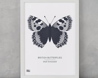 Butterfly Print, British Butterflies, Small Tortoiseshell Screen Print, Nature Wall Art, Butterfly Art, Butterfly Decor, Butterfly Gifts