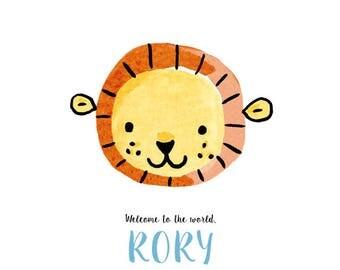 Baby lion, printable custom baby announcement