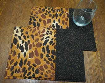 Two Leopard Print Snack Mats or Mug Rugs Reverse to Halloween