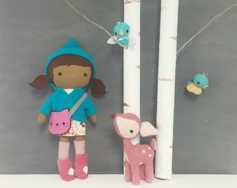 "Handcrafted STUDIO DOLL 15"" - Girl in the Hooded Jacket. Handmade, Doll, Girl, Toy, Plush, Children, Gift, Kitty"