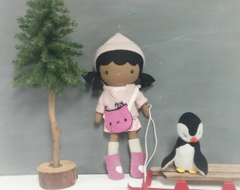 "Handcrafted STUDIO DOLL 15"" - Girl in the Hooded Jacket with Kitty Purse. Handmade, Doll, Girl, Toy, Plush, Children, Gift"