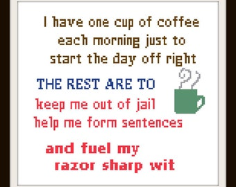 One Cup of Coffee - counted cross stitch chart - downloadable