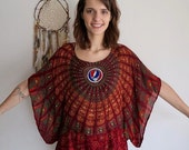 Grateful Dead Steal Your Face Embroidered Tapestry India Print Bohemian Hippie Festival Pullover Batwing Poncho Top Shirt Red One Size