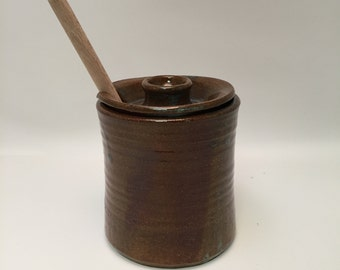 Handmade Ceramic Honey Pot, Lidded Jar - With Honey Stick - Celadon Brown