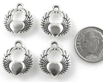 TierraCast Pewter Charms-Antique Silver WINGED HEART (4)
