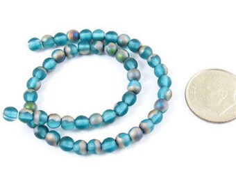 Czech Round Glass Beads-FROSTED AQUA VITRAIL 4mm (50)