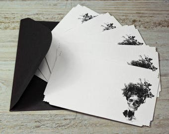 "Note Cards - Skull - Tree  - Goth - Italian Paper - Die Cut Cards - W4.52"" x H 2.75"" - Set of 12 Note Cards"
