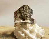 Sterling Silver FLOWER Spoon Ring Adjustable