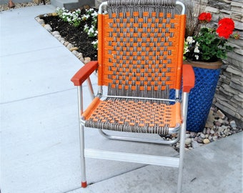 Vintage Lawn Chair Retro Orange and Brown Macrame