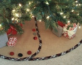 Burlap Christmas Tree Skirt -- Customized with Banding & Buttons of Your Choosing