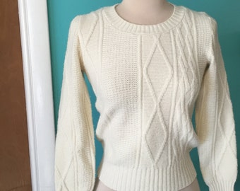 Sweater Girl - 1970's does 1940's Cable Knit Pullover